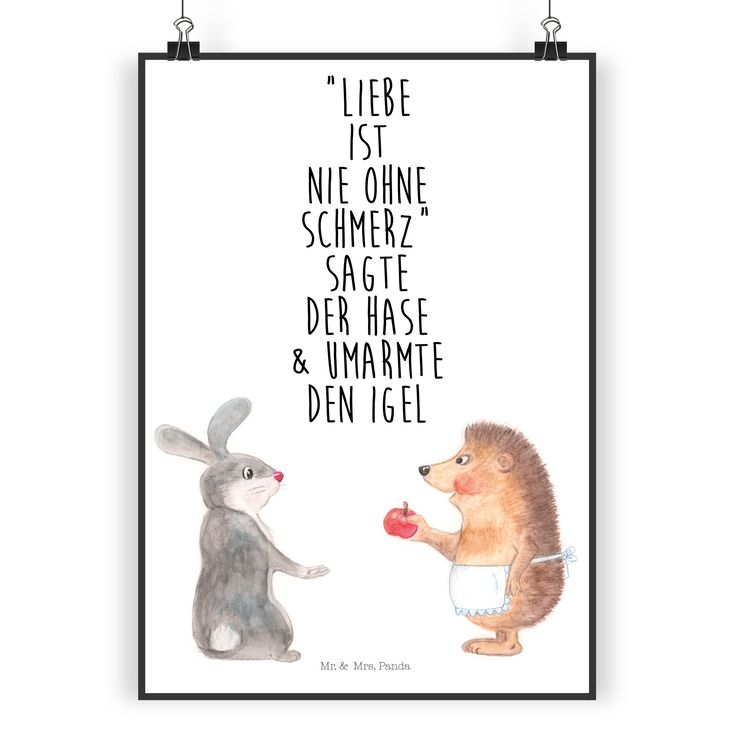 """Poster DIN A3 Liebe ist nie ohne Schmerz aus Papier 160 Gramm  weiß - Das Original von Mr. & Mrs. Panda.  Jedes wunderschöne Poster aus dem Hause Mr. & Mrs. Panda ist mit Liebe handgezeichnet und entworfen. Wir liefern es sicher und schnell im Format DIN A3 zu dir nach Hause.    Über unser Motiv Liebe ist nie ohne Schmerz  """"Liebe ist nie ohne Schmerz"""" sagte der Hase und umarmte den Igel - unsere wunderschöne handgezeichnete Tasse aus dem Hause Mr. & Mrs. Panda    Verwendete Materialien  Es…"""
