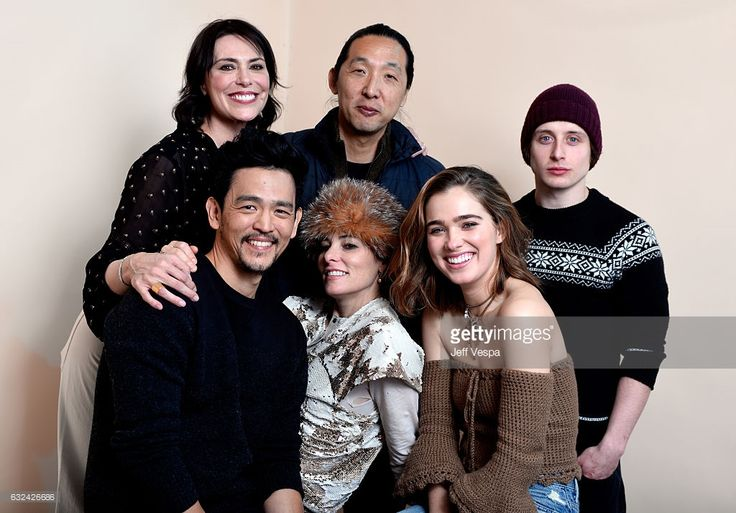 Actress Michelle Forbes, filmmaker Kogonada, actor Rory Culkin (front L-R) actors John Cho, Parker Posey and Haley Lu Richardson from the film 'Columbus' pose for a portrait in the WireImage Portrait Studio presented by DIRECTV during the 2017 Sundance Film Festival on January 22, 2017 in Park City, Utah.