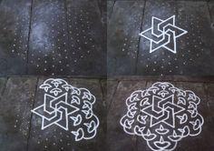 Rangoli designs/Kolam: S.No. 60 :-13-7 pulli kolam- interlaced dots kolam