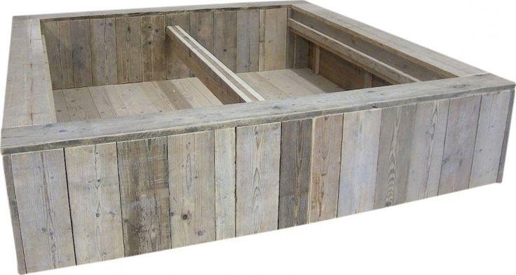 Tweepersoonsbed steigerhout blok bed hoofdeind gelijk hoogte (BL)