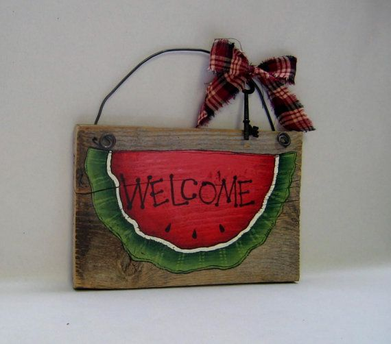 Watermelon Welcome Sign Barn Wood Tole by barbsheartstrokes,