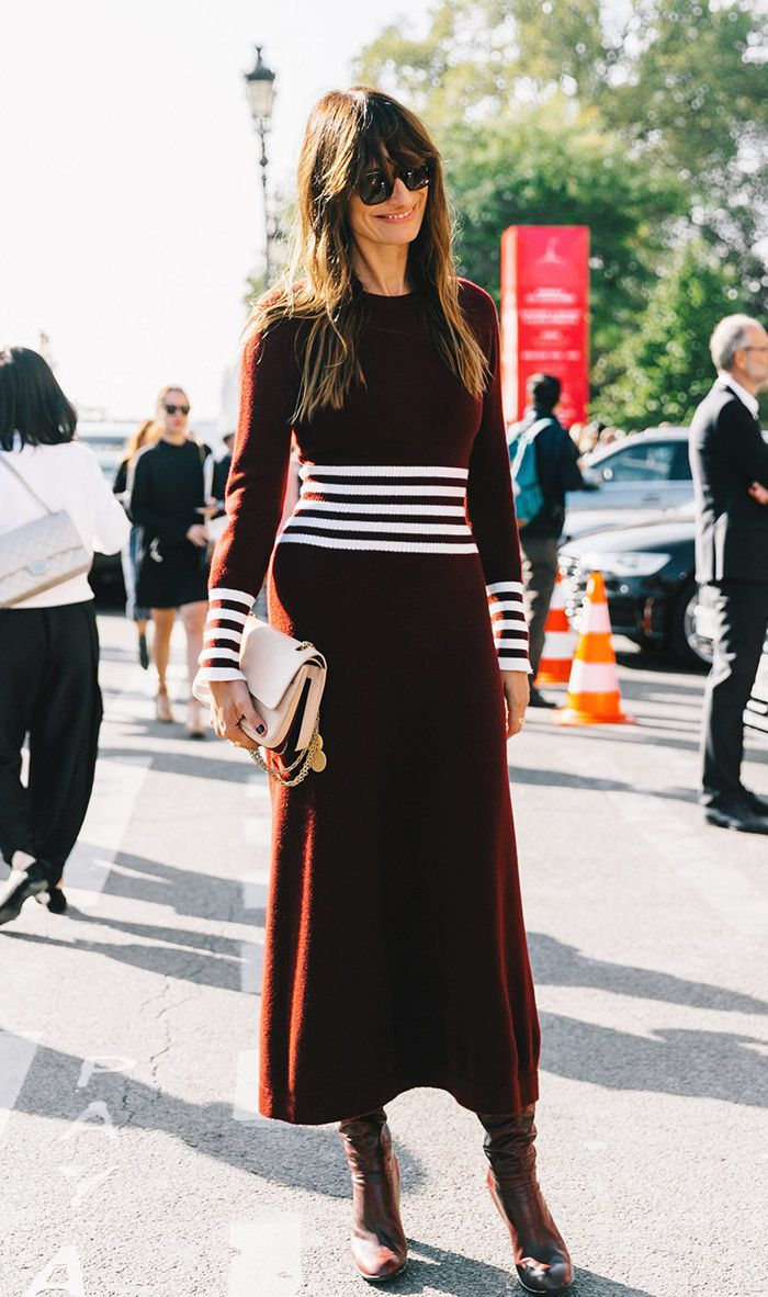 Maroon dress featuring stripes to elongate.