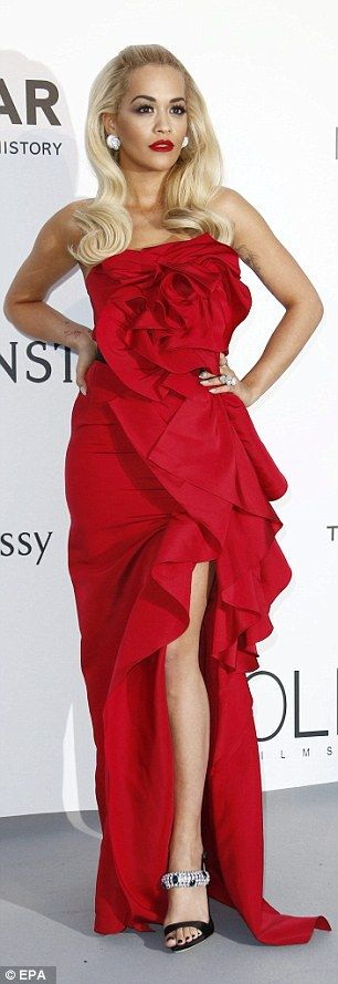Showing some leg: Rita posed up a storm as she arrived at theHotel du Cap-Eden-Roc...