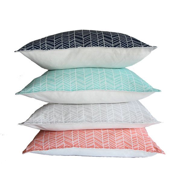 Herringbone 60 x 60 cm scatter cushions from Ruby & Me in navy blue, duck egg, light grey and coral