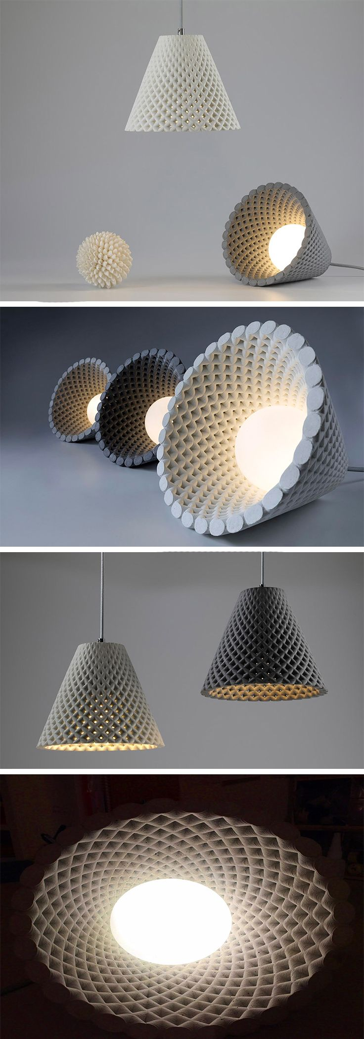 This design was inspired by the fascinating geometric pattern created by clustered sunflower seeds. The stretched version of a Fibonacci spiral, its perfectly perforated, sculptural structure creates a stunning visual whether or not the light is activated. When the light is switched on, however, it creates a breathtaking silhouette of light and shadows cast on surrounding walls.