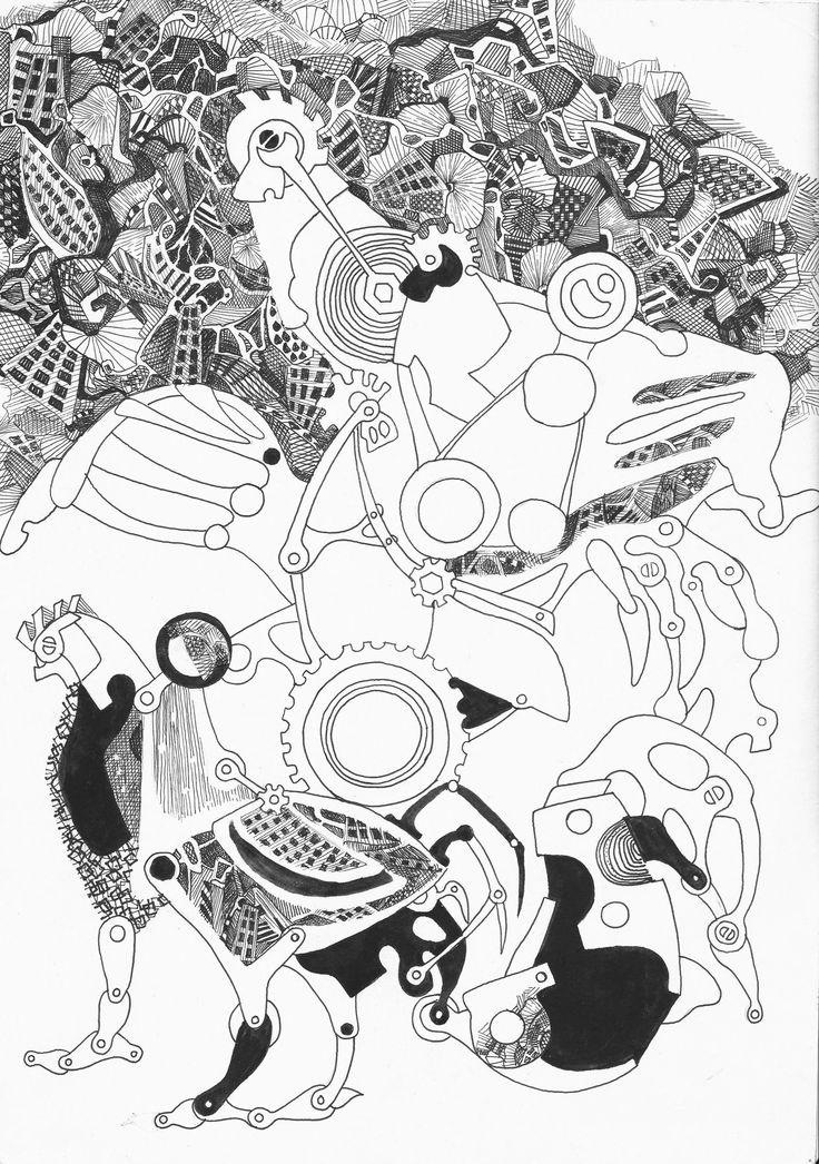 """Mechanical birds"" graphics ( 297x420 mm, graphics, pen)"