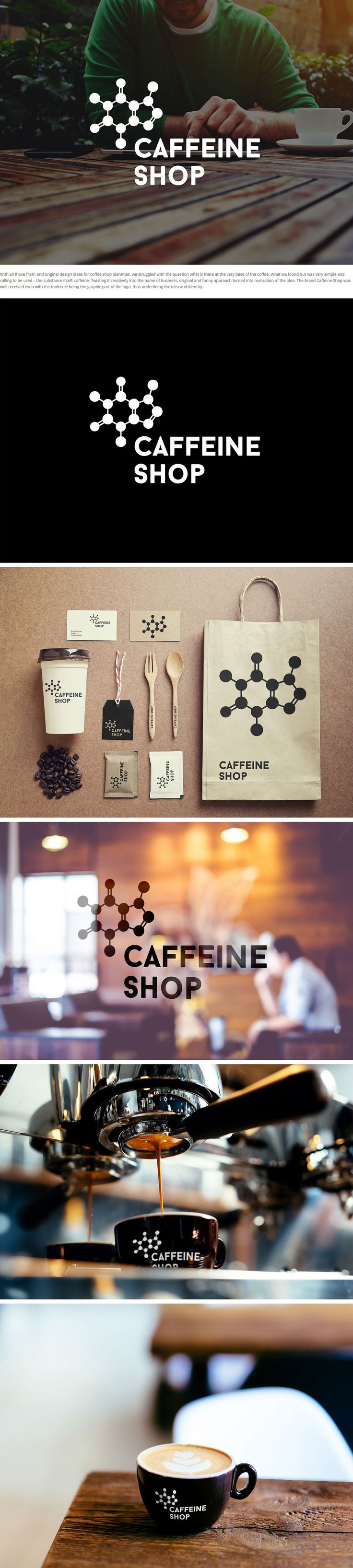 Coffee shop branding uses caffeine molecule as logo