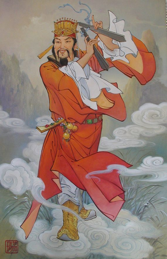 CAO GUOJIU (Chinese: 曹國舅) is the youngest of the Eight Immortals. He is named one of the following: *Cao Yi (曹佾) (courtesy name Gongbo (公伯 gōng bó)), *Cao Jing (曹景), *Cao Jingxiu (曹景休), or *Cao You (曹友). He was said to be the uncle of the Emperor of the Song Dynasty, being the younger brother of Empress Dowager Cao (曹太后 cáo tàihòu).