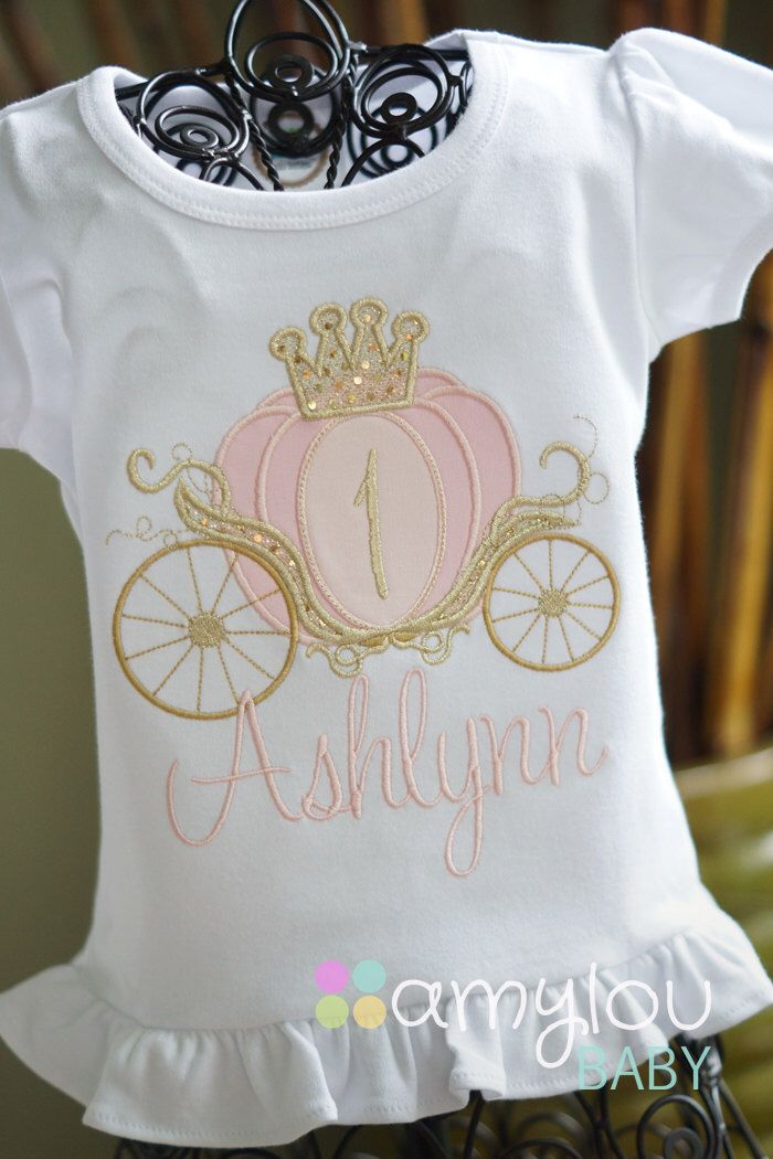 Pink and Gold Cinderella Carriage Princess Birthday Toddler Tee Shirt - First Birthday or ANY AGE - Princess Party by amyloubaby on Etsy https://www.etsy.com/listing/232197180/pink-and-gold-cinderella-carriage