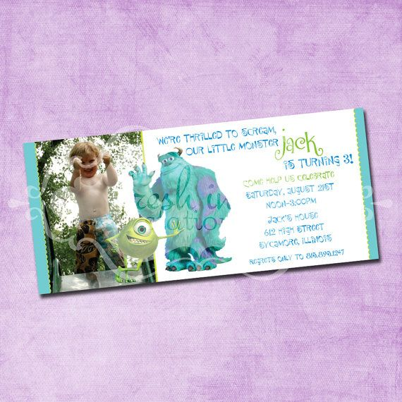 Mike and Sulley Birthday Invitation by FreshInkStationery on Etsy, $1.40