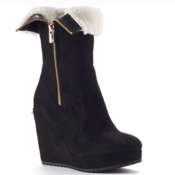 Juicy Couture Black suede wedge boots Black Suede with Gold zippers like new worn only a few times and in great condition Juicy Couture Shoes Wedges