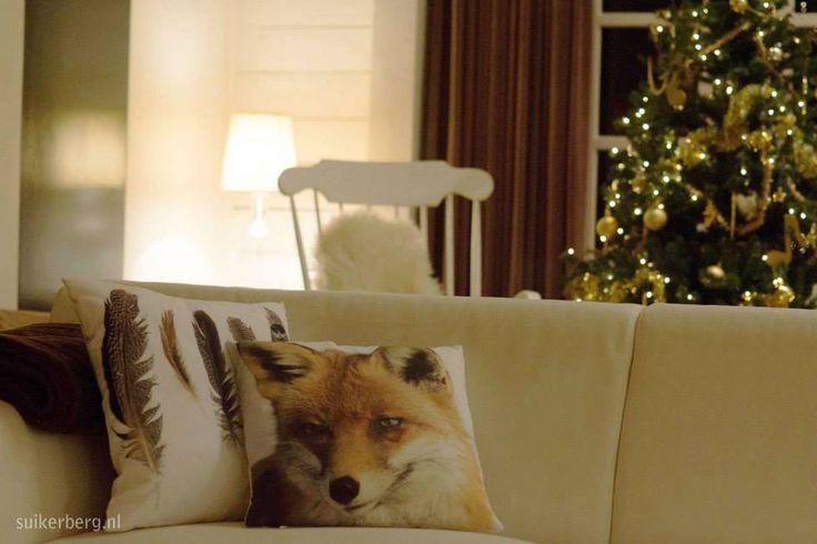 Woonkamer met kerst Vakantiehuisje De Blokhut  www.suikerberg.nl