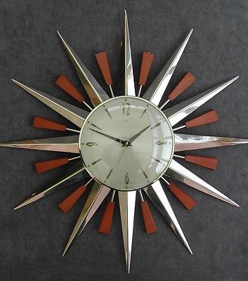 Vintage 1960s atomic modernist sunburst clock: Metamec Clocks, Sunburst Clocks Metamec, Houses Decor, Chrome Sunburst, 1960S Teak, Vintage 1960S, Design Modern Furniture Object, Wall Clocks, Retro Teak