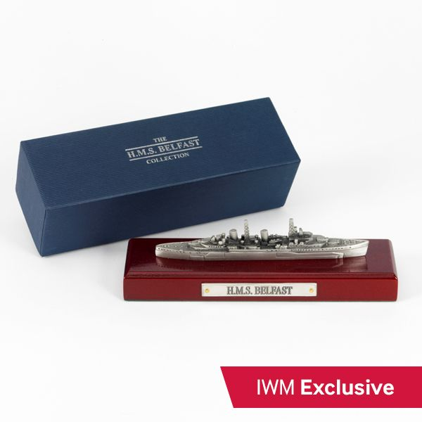 This elegant model of HMS Belfast comes with a presentation box and is made from pewter.