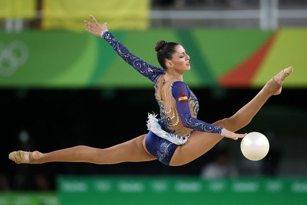 Carolina Rodriguez of Spain competes during the Women's Individual All-Around Rhythmic Gymnastics Final on Day 15 of the Rio 2016 Olympic Games at the Rio Olympic Arena on August 20, 2016 in Rio de Janeiro, Brazil.