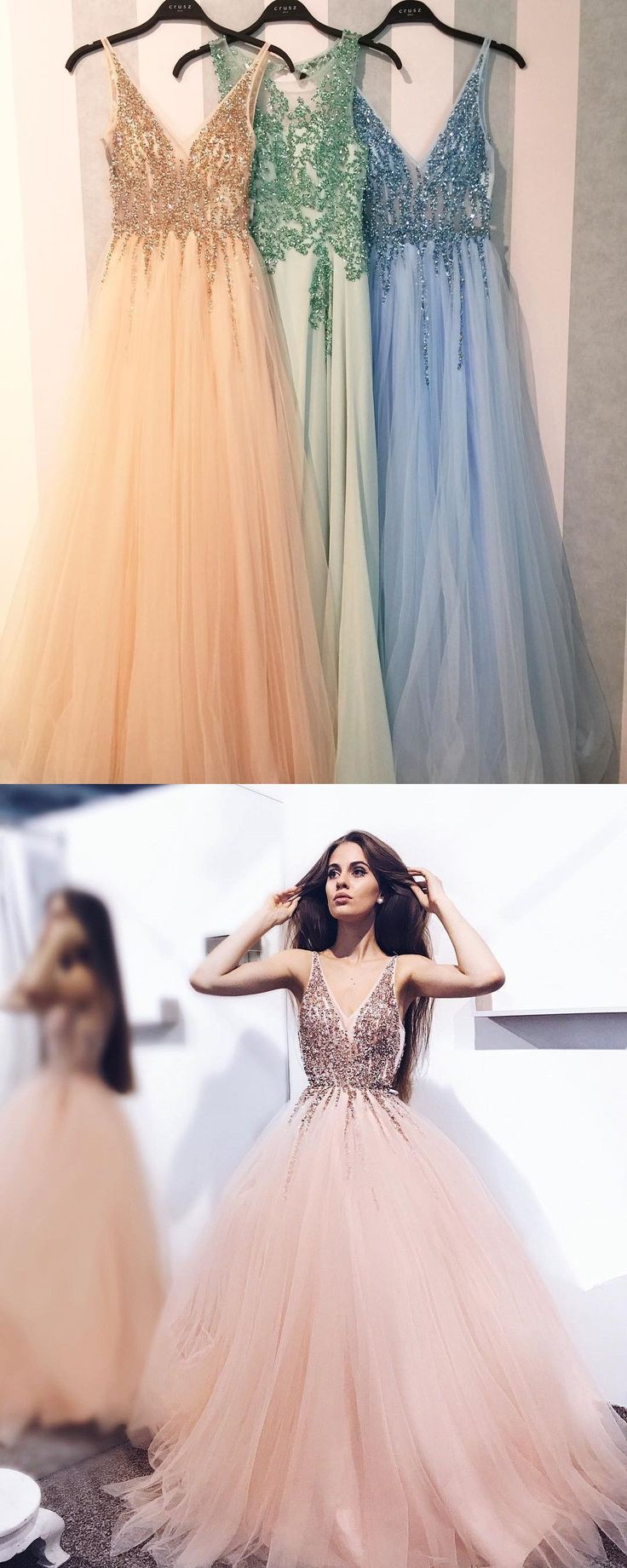 Outlet Substantial Prom Dresses 2019 Luxurious Beads V Neck Pink Long Prom Dress
