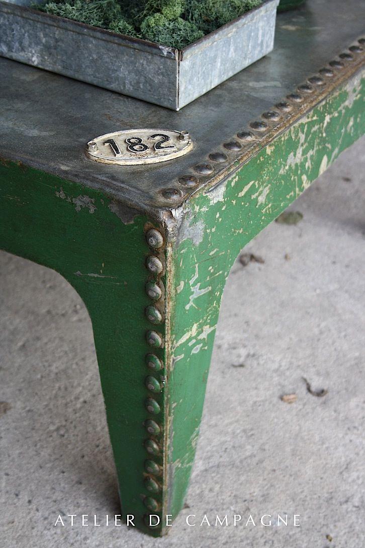 Industrial Metal Green Coffee Table