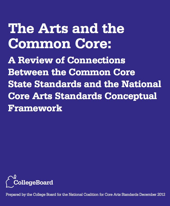 The Arts and The Common Core: A Review of Connections Between The Common Core State Standards and The National Core Arts Standards Conceptual Framework:  http://nccas.wikispaces.com/file/view/Arts%20and%20Common%20Core%20-%20final%20report1.pdf/404993792/Arts%20and%20Common%20Core%20-%20final%20report1.pdf