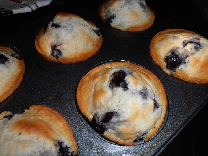 Blueberry Muffins  2 C. self rising flour 1/2 C. sugar 1 egg, beaten 1 1/2 C. frozen or fresh blueberries (we like a lot of berries) 1/2 tsp vanilla 1 T. melted butter 3/4 C. milk (maybe a little more if needs thinning)  Grease a 12 C. muffin tin or large 6 C. tin, heat oven to 375 degrees.  Whisk together the flour and sugar, add in the egg, melted butter and about 1/2 C. of milk.  Stir well and add more milk as needed (I make mine a little thicker than pancake batter).  Gently fold in the…