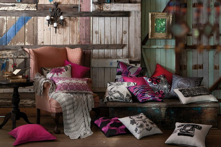 Edition 20, KAS Cushions - Pinks and Greys in a beautiful rustic setting.