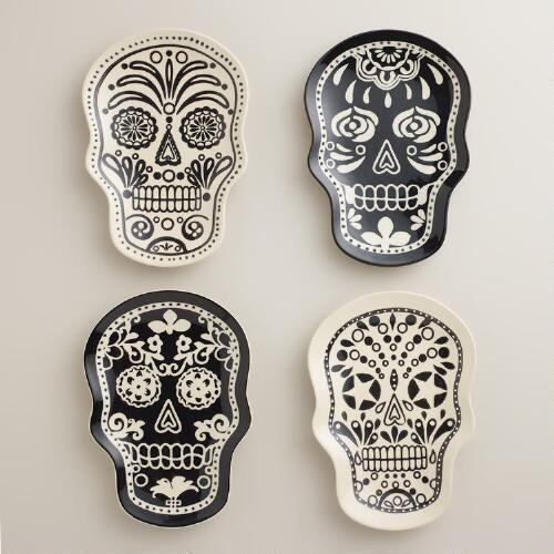 DIA DE LOS MUERTOS/DAY OF THE DEAD~One of my favorite discoveries at WorldMarket.com: Muertos Plates, Set of 4