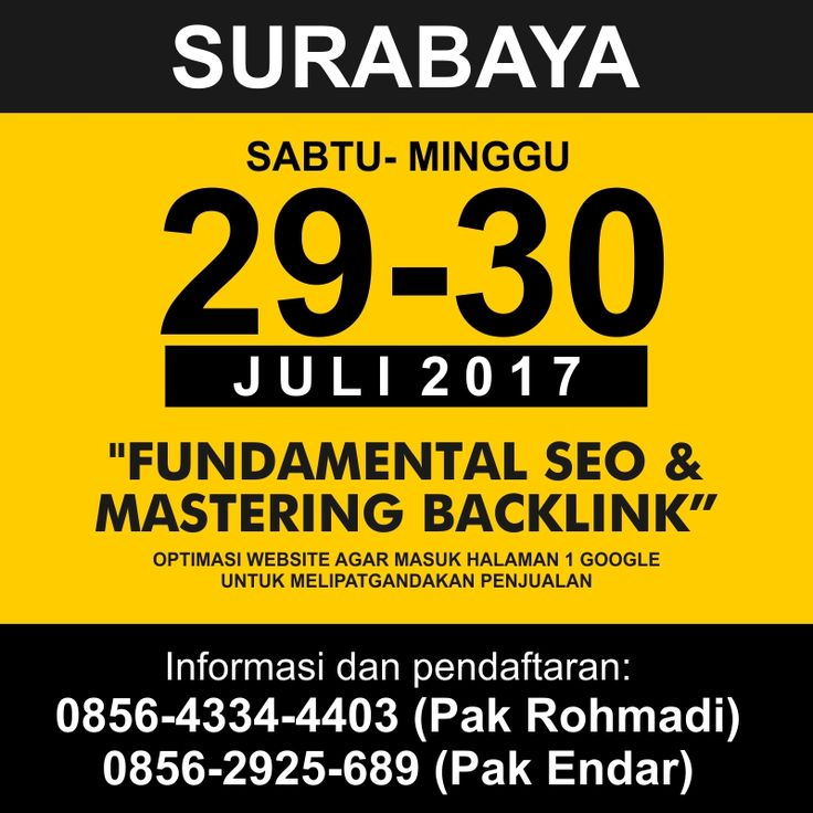 Kursus SEO Surabaya Juli 2017