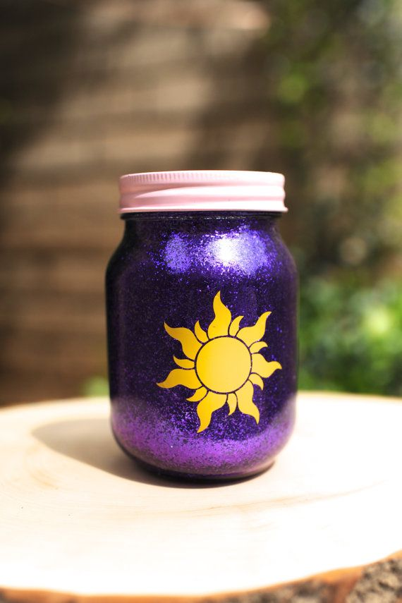 Tinted Glitter Mason Jar  -  Disney Princess Rapunzel from Tangled Inspired on Etsy, $7.50. So pretty! Other princesses available. Love them all!!
