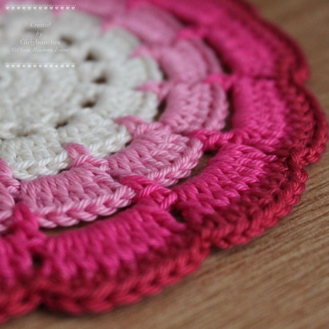 Shades of Pink Doily Coaster - from girlybunches (folksy): Crochet Flowers, Crochet Ideas, Knits Crochet, Doilies Coasters, Ideas Crochet, Pink Doilies, Crochet Doilies, Crochet Knits, Colors Ideas