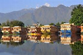 House-Boats on Dal Lake, Srinagar, Jammu and Kashmir, India