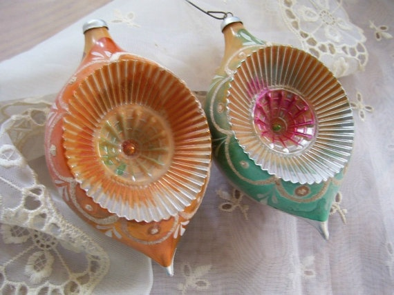 vintage ornaments Two Gorgeous Antique Art Deco Celluloid Christmas Ornaments