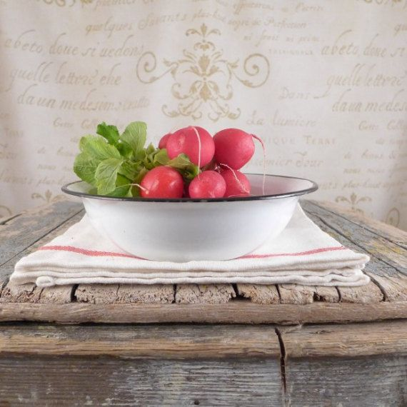 The small enamel bowl, White, enamel, vintage, kitchen, silesia, white plate, kitchen, bowl, shabby chic, enamel, enamel bowl