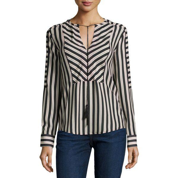 "Rachel Zoe Mairi Long-Sleeve Striped Blouse, Dot Stripe Dark Details Rachel Zoe \""Mairi\"" striped woven blouse. Split neckline; self-tie closure with tassels.…"