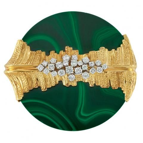 Gold, Malachite and Diamond Brooch for Sale at Auction on Mon, 04/16/2012 - 07:00 - Important Estate Jewelry | Doyle Auction House