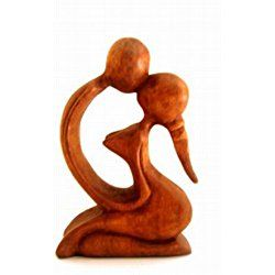 """Kiss Statue - Romantic Hand Carved Wood Sculpture, Love Figurine, Valentines Day - 8"""" OMA® BRAND"""