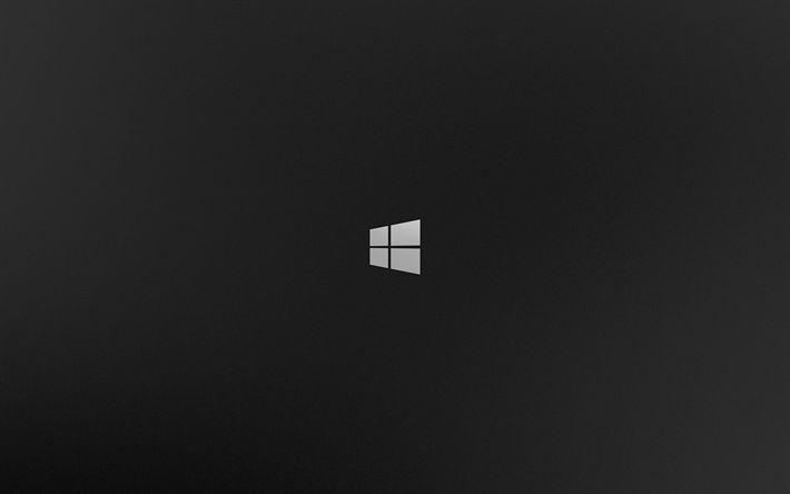 Download wallpapers Windows 8, 4k, gray background, minimal, logo