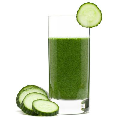 """Instead of reaching for a coffee, try a green juice instead. """"Chlorophyll, the green pigment in plants, helps oxygenate the blood, creating increased brain function and physical energy 1 large cucumber 8 stalks celery Handful of kale Handful of spinach Handful of parsley 1/4 lemon with rind (if organic!) 1-inch piece of ginger"""
