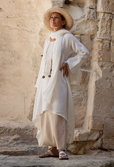 Loose fit off white  flax  linen veil tunic and sand beige linen sarouel-skirt, linen gauze scarf