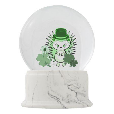 Hedgehog Girly Cute Saint Patricks Day Snow Globe - click to get yours right now!