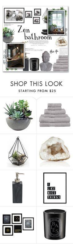 """Zen Bathroom"" by lauren-a-j-reid on Polyvore featuring interior, interiors, interior design, home, home decor, interior decorating, Rough Fusion, Superior, Hedi Slimane and Diptyque"