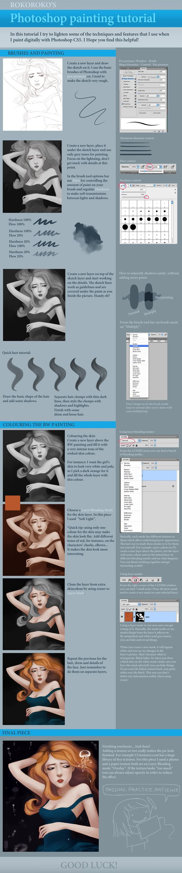 Photoshop Painting Tutorial by ~rroko on deviantART -- look actual painting techniques in a nice straightforward illustration