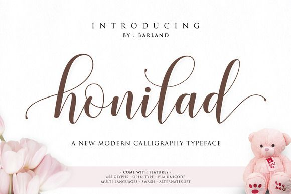 Honilad Calligraphy Typeface by Barland on @creativemarket