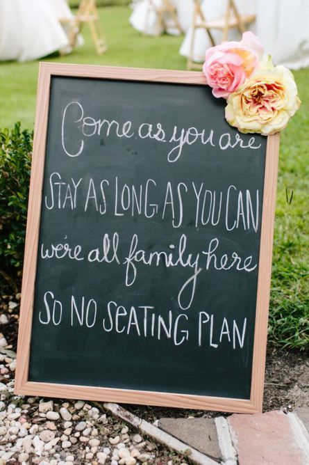 Yes! No seating plan!  50 Wedding Ideas from Pinterest | StyleCaster