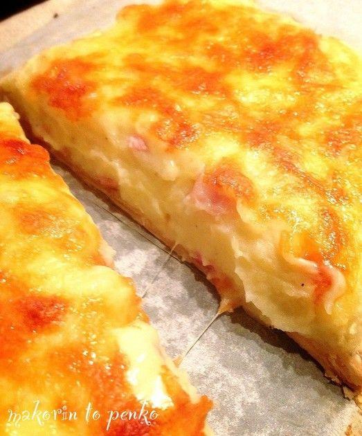 おもてなし料理*クリーミーポテトピザパイ☆ サクッとパイの上にベーコン入マッシュポテトとチーズ!大人も子供も大満足のピザパイです