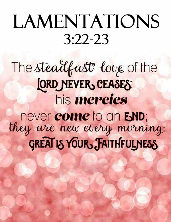 Lamentations 3:22-23 (ESV) -  The steadfast love of the LORD never ceases;    His mercies never come to an end; they are new every morning;     great is your faithfulness.
