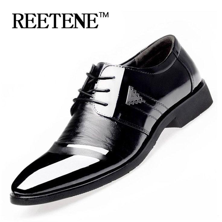 Men Dress Shoes Spring Business Oxfords Lace-up Flats Shoes Fashion Large Size Single Wedding Shoes Leather Shoes Wholesale