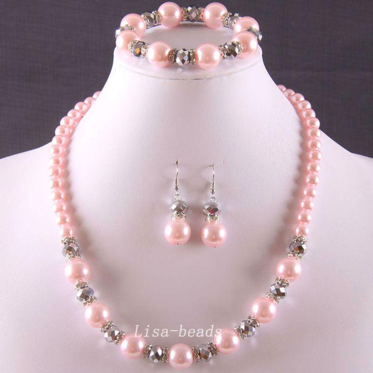 envío gratis juegos de joyería de perlas de color rosa de cristal pulsera collar pendientes e799