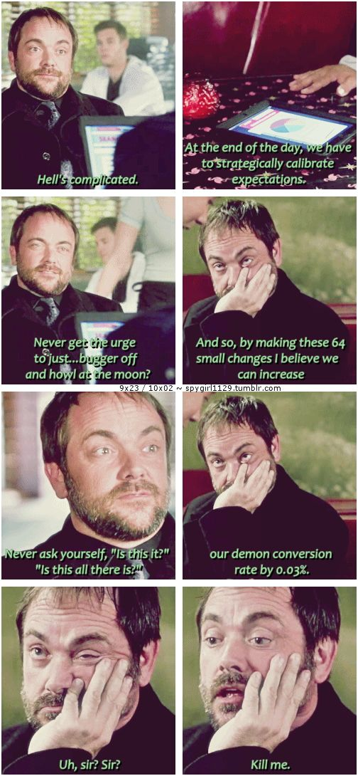 9x23 / 10x02 [gifset] - Tough being the King. - Crowley, Supernatural