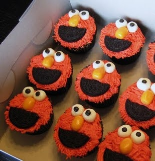 elmo cup cakes for Arabella's 1st birthday!