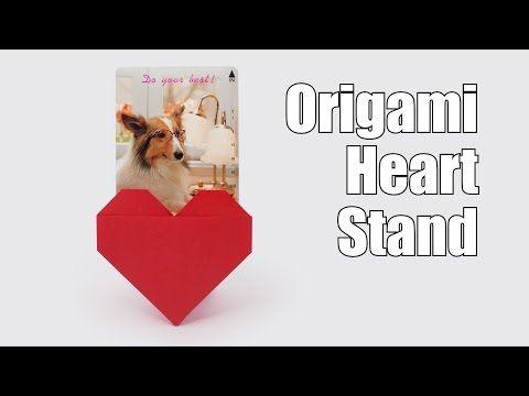 折り紙 「ハートスタンド」 の折り方 (Jo Nakashima) - バレンタイン・デー - YouTube