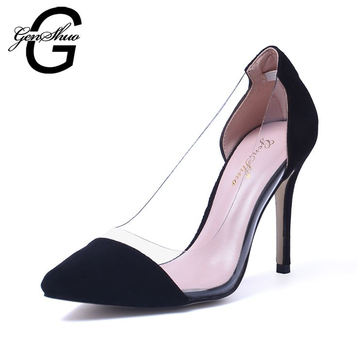 New Women Hot 105CM Transparent High Heel Shoes Red Vintage Style Women  Shoes High Heels